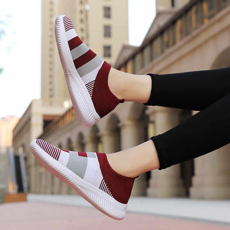 PINSEN 2020 yeni moda ayakkabı kadın ayakkabı nefes örgü Slip-on düz ayakkabı kadın artı boyutu loafer ayakkabılar zapatillas mujer
