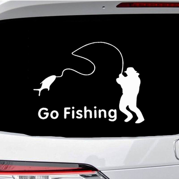 Go Fishing Car Stickers Car Styling Funny Auto Vinyl Decals And Sticker Fish Sticker Fisherman Boat Decals For Car Accessories image