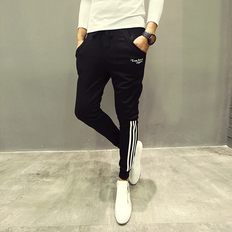 2018 Spring And Autumn New Style Korean-style Men Three Bars Slim Fit Pants Sweatpants Sports Harem Casual Trousers Men's
