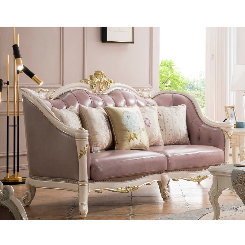 Living Room Moden Leather Purple Sofa