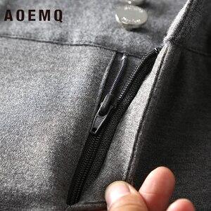 Image 4 - Aoemq Thời Trang Thun Cotton Mềm Mại Quần Phẳng 2 Màu Sắc Giày Thể Thao PE Lớp Mặc Quần Bút Chì Quần Dài Thun Lực Quần Ôm