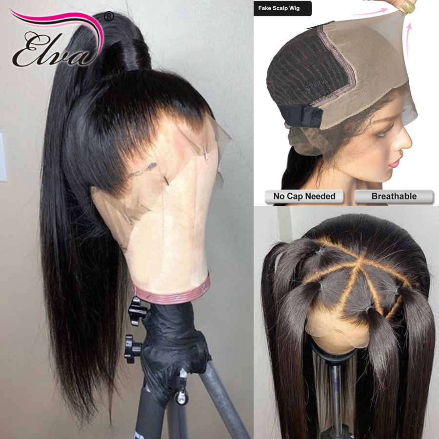 Elva Hair 370 Lace Frontal Wig Pre Plucked Fake Scalp Wig Straight 13x6 Lace Front Human Hair Wigs For Black Women Remy Hair Wig Wig With Baby Hair Wig Withewig Lace Front Wig