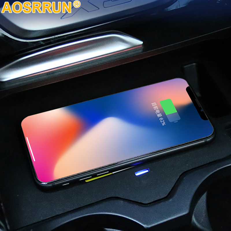 Car Accessories For <font><b>BMW</b></font> <font><b>X3</b></font> <font><b>G01</b></font> <font><b>2018</b></font> 2019 Quick charge Mobile phone QI wireless charging Pad image