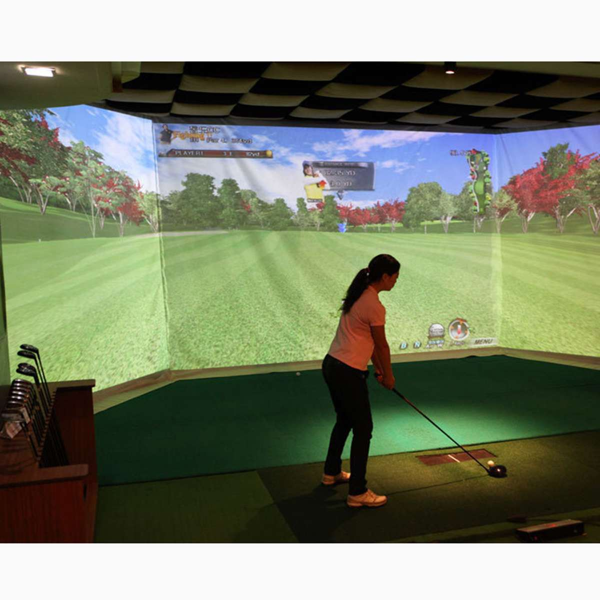 Indoor Golf Training Aids Golf Simulator Impact Display Projection Cloth Screen Indoor White Cloth Material 300x300cm/300x100cm