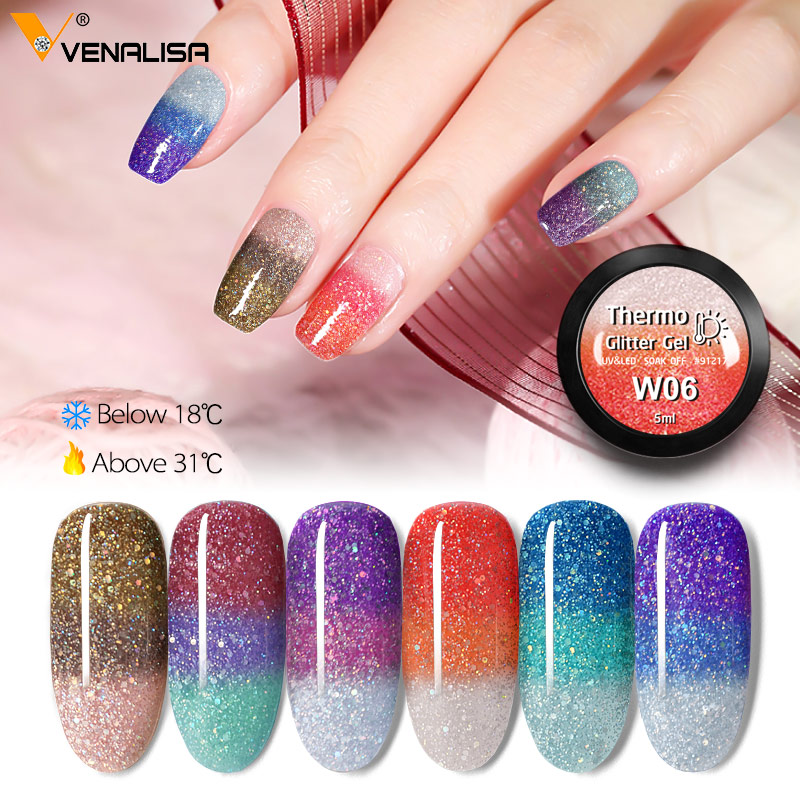 VENALISA Nail Art UVLED Soak Off Glitter Platinum Thermo Mood Changing Color Chamelon Nail Polish Gel Enamel Varnish Lacquer Gel