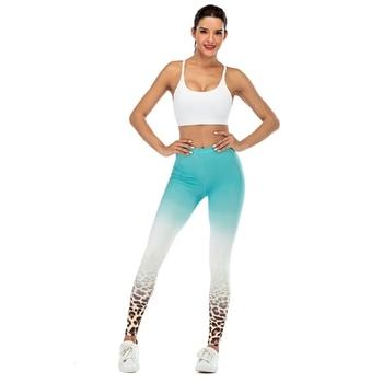 Brand Fashion Woman Pants Sexy Women Legging Blue gradient leopard Printing Fitness leggins Slim legins