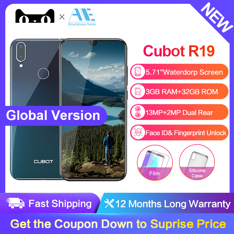 Cubot R19 5.71''Water Drop Screen Android 9.0 19:9 3GB 32GB Smartphone Quad Core Fingerprint Dual Back Cams Face ID Mobile Phone