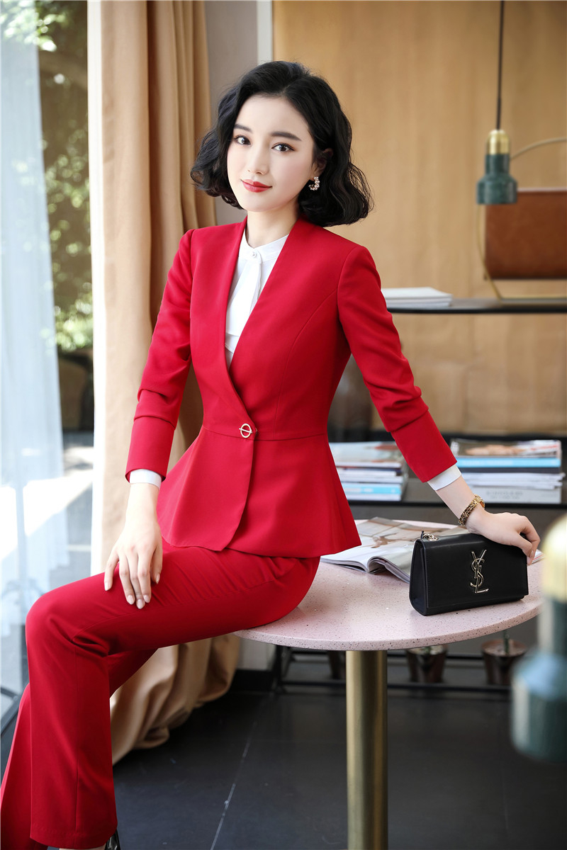 Novelty Red Formal Women Business Suits With Pants And Jackets Coat Autumn Winter For Ladies Office Work Wear Blazers Pantsuits