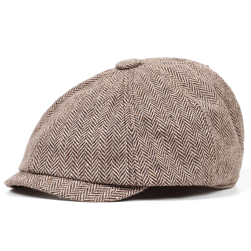 2019 Высококачественная модная однотонная решетка берет из хлопка для отдыха на открытом воздухе Классическая восьмиугольная шляпа для мужч...