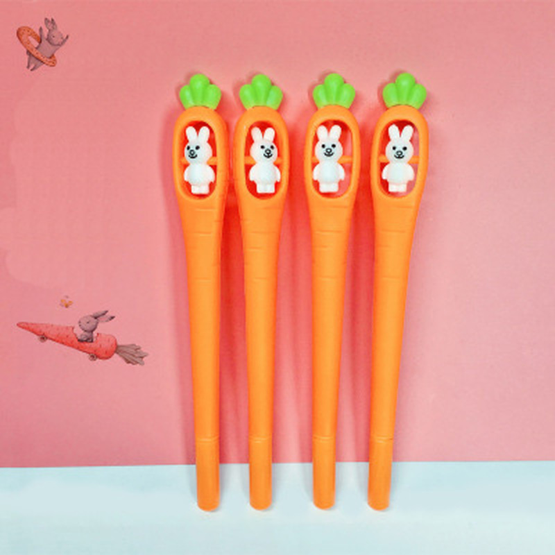 1pcs Rabbit Rotating Carrot Gel Pen 0.5mm Cute Pens Novelty Kawaii Gel Pen Student Stationery Writing Pens School Supplies