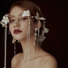 Exagerar máscara de flecos gafas para novia joyería flor adornos accesorios de vestido de novia ojo máscara para mascarada fiesta joyas