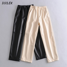 Elegant Pant Straight Trousers Faux-Leather Za Mujer High-Waist Womens Elastic Black