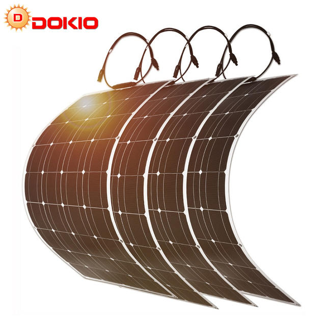 Dokio 100w Flexible Monocrystalline Solar Panel Kit For Home & RV & Boat 500w 1000w Flexible Solar Panel China Drop Shipping 1