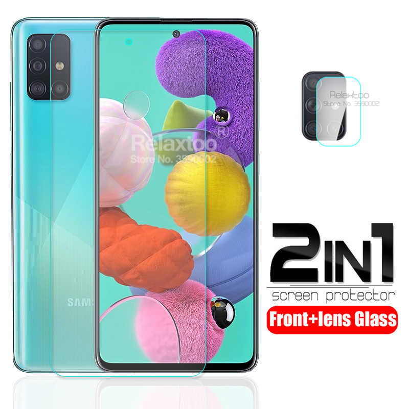 2-in-1 Camera Lens Tempered Glass For Samsung Galaxy A51 A71 A10 A20 A30 A40 A50 A70 A10s A20s A30s A50s A70s Protective Glass