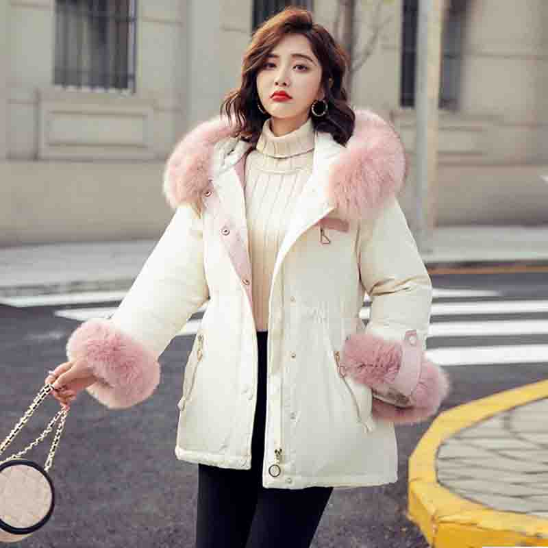Large Natural Fox Fur Hooded 2019 Winter Jacket Women   Down     Coat   90% White Duck   Down   Jackets Thick Warm Female Winter   Coat   Parka