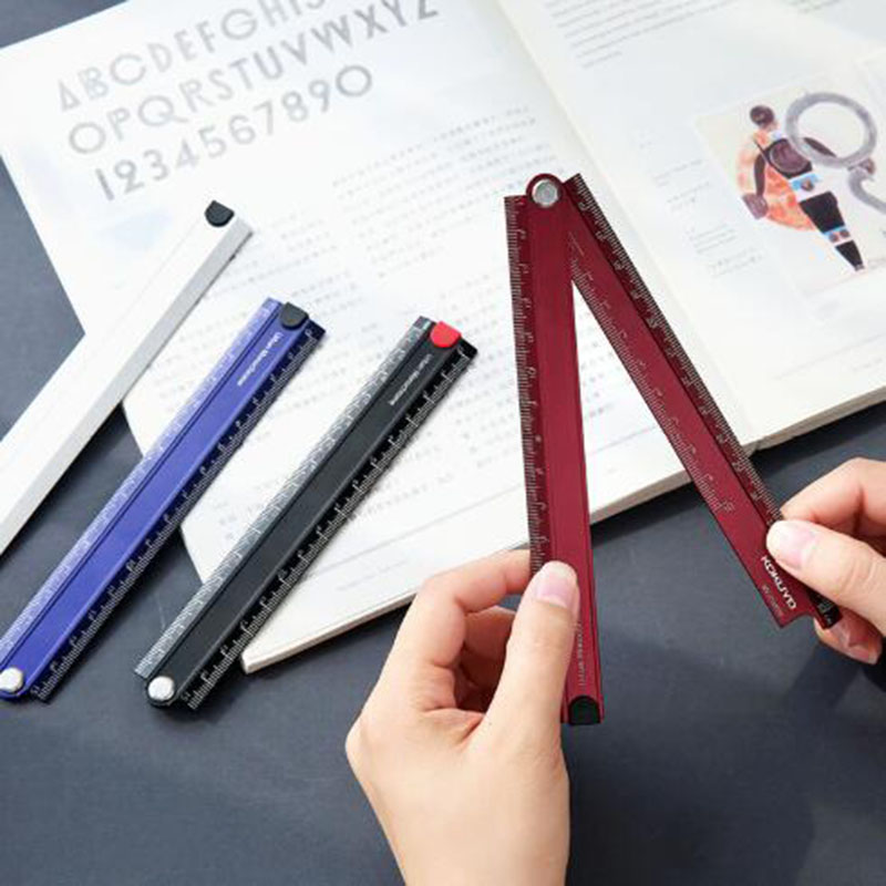 Solid Color Simple Aluminum Ruler Student Stationery Office Translucent Multi-functional Folding Measuring Ruler