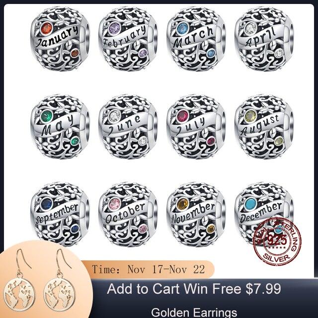 MOWIMO אמיתי 925 כסף סטרלינג המזל חרוזים קסם Fit מקורי כסף צמיד תליון תכשיטי יום הולדת מתנה BKC1385
