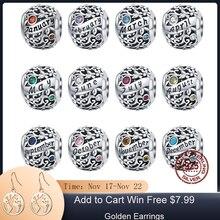 MOWIMO Real 925 Sterling Silver Birthstone Beads Charme Fit Original Pulseira de Prata Pingente de Presente de Aniversário de Jóias BKC1385