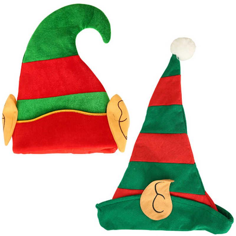 Gran oferta sombrero de Navidad para elfo adultos con orejas rojo Verde Rayado diseño talla única se adapta a la mayoría de los sombreros de elfo no tejidos con orejas