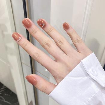 24 sztuk perła diament inkrustowane paznokcie łatka klej typu krótki akapit wymienny mody Manicure fałszywe paznokcie Patch naklejka do paznokci tanie i dobre opinie MAKEUPEATING CN (pochodzenie) Palec False nails Z tworzywa sztucznego Sztuczne paznokcie Pełne końcówki paznokci Easy to use
