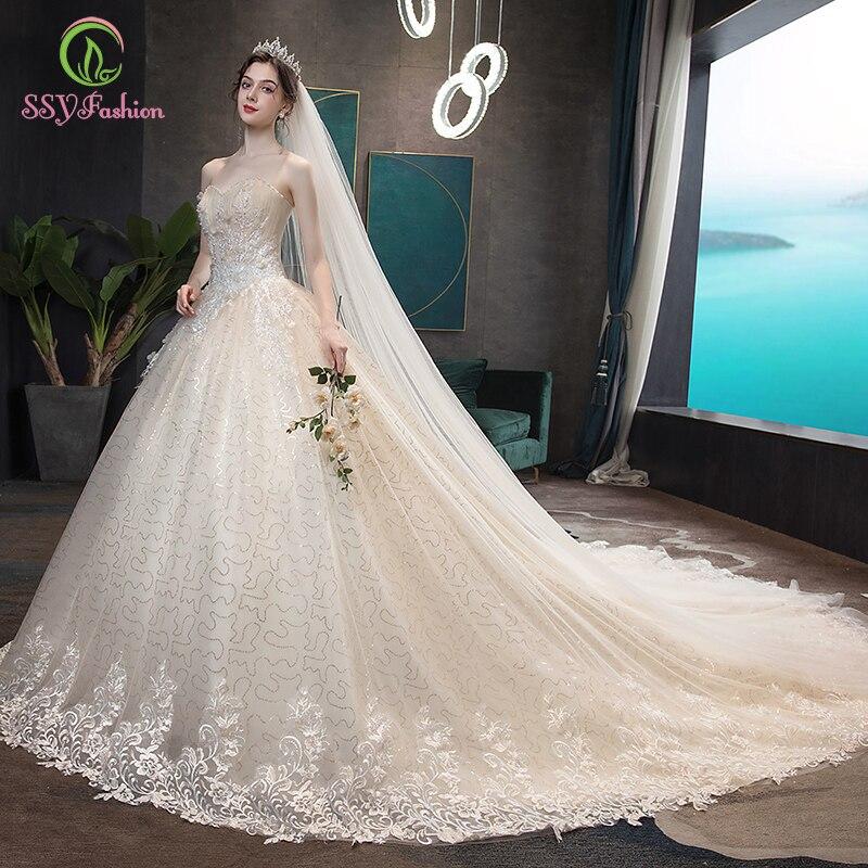 SSYFashion New Luxury Champagne Wedding Dress Bride Married Romantic Lace Appliques Beading Long Wedding Gowns Vestido De Noiva