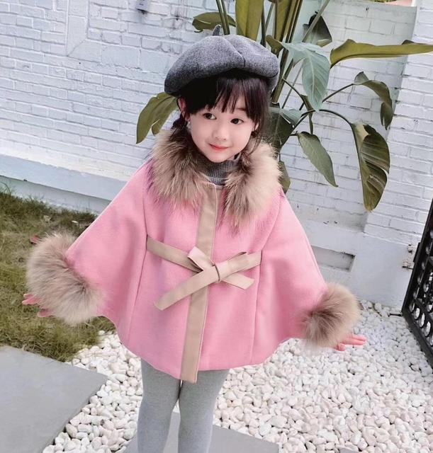 Cape en laine pour petite fille, manteau dhiver en laine, rouge et rose