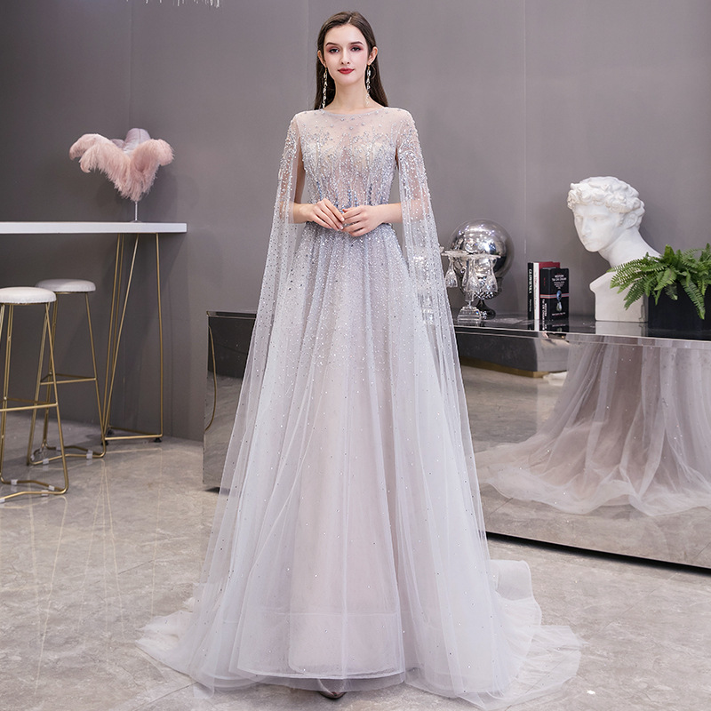 Evening Dresses with Long Sleeves 2020 Sliver Sheer Neck Zipper Back Tulle Beaded Crystals Prom Party Gowns Chapel Train