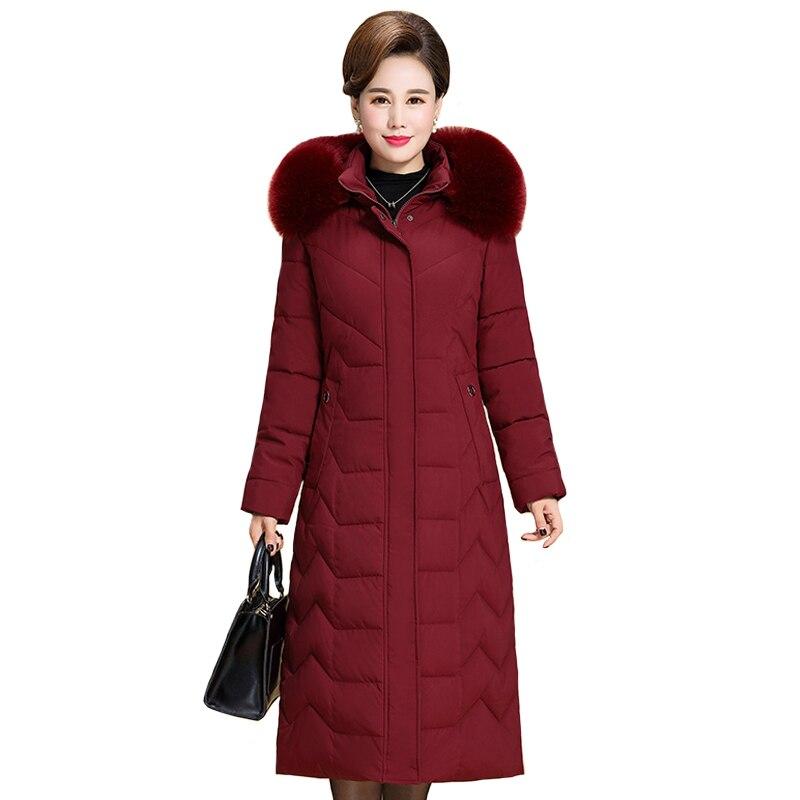 Plus Size L-6XL Women Winter Jacket Hooded Fur Collar Big Size Down Jacket Winter Coat Warm Thicken Cotton Long   Parkas   Outwear