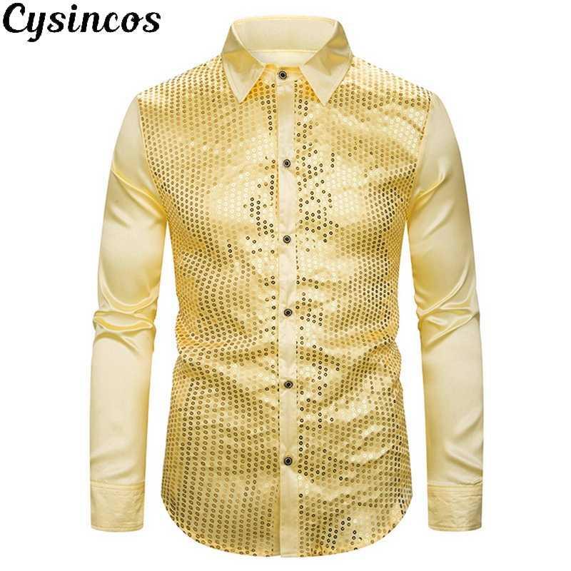 CYSINCOS złoty olśniewająca brokat koszule mężczyźni 2019 nowych moda noc klub satyna jedwabna Camisa Slim Fit etap Disco koszulka Homme