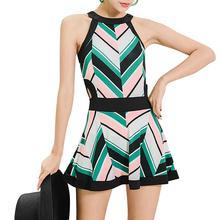 Yfashion Women Retro Printing Slim Beach Dress+Briefs Set yfashion women fashion stripes printing dress briefs swimwear