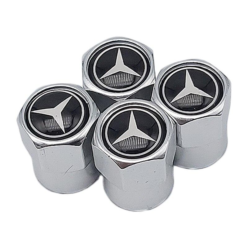 4 PCS Schwarz Auto rad reifen ventil kappe schutz abdeckung Für Mercedes Benz AMG CLK CLA GLK GLE GLC EIN B C E S klasse A180 Auto styling