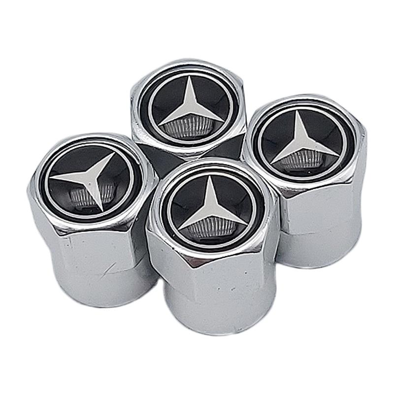 Couverture noire de protection de capuchon de valve de pneu de roue de voiture de 4 pièces pour Mercedes Benz AMG CLK CLA GLK GLE GLC A B C E S classe A180