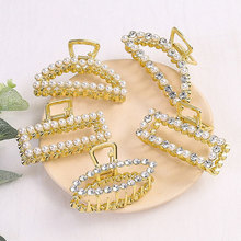 7CM Large Size Pearl Rhinestone Heart Hair Claws Adult Headwear Geometric Clips for Girl Accessories Women
