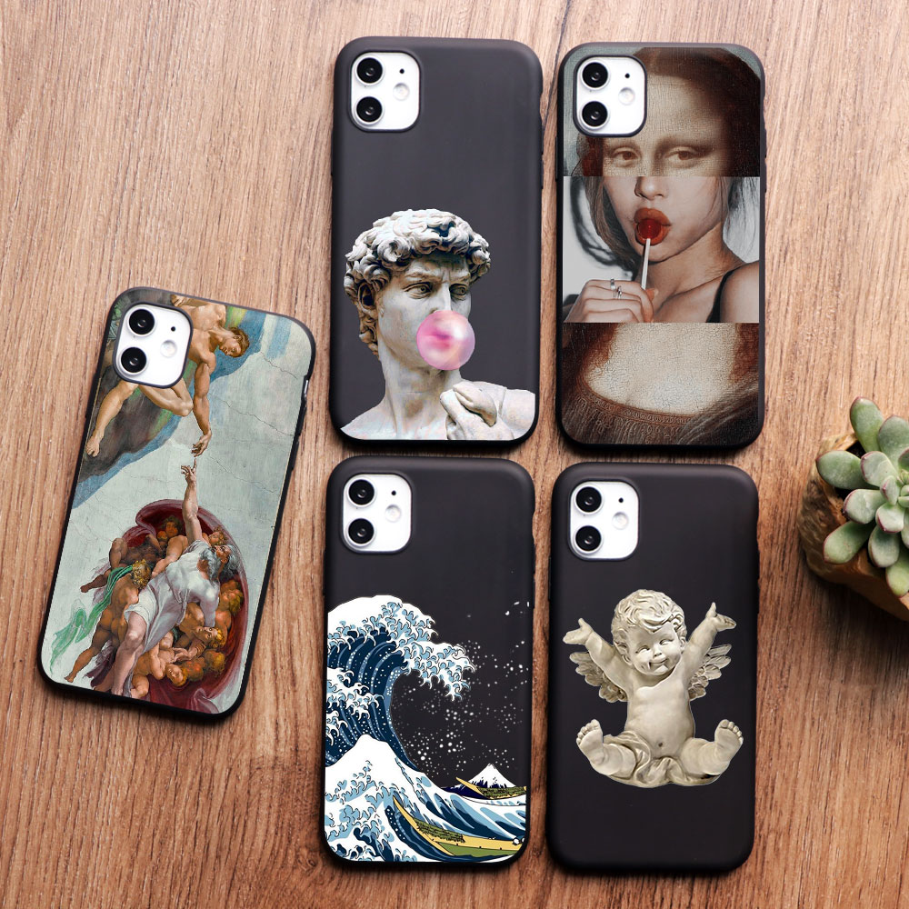 Mona Lisa David Vintage Aesthetics art phone <font><b>Case</b></font> For <font><b>iPhone</b></font> XR X XS MAX 6 <font><b>6S</b></font> 7 8 <font><b>Plus</b></font> 5 5s SE Black <font><b>red</b></font> Soft TPU Silicone Cover image