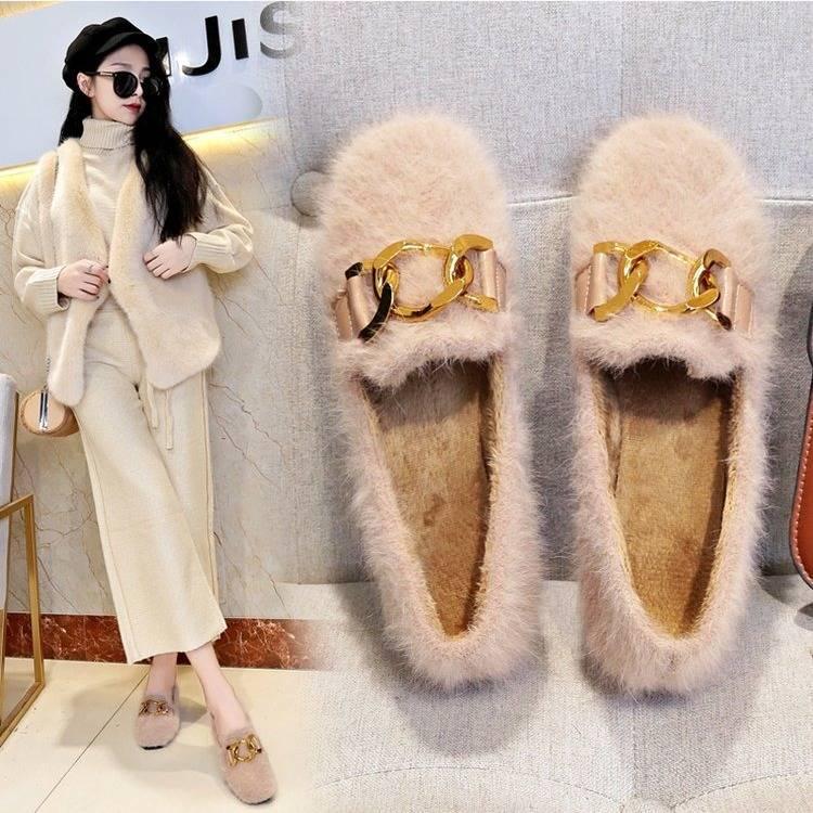 Women Shoes Fur Shoes Woman Autumn Winter Short Plush Flat Shoes Women Loafers Ladies Shoes Zapatillas Mujer chaussures femme 39