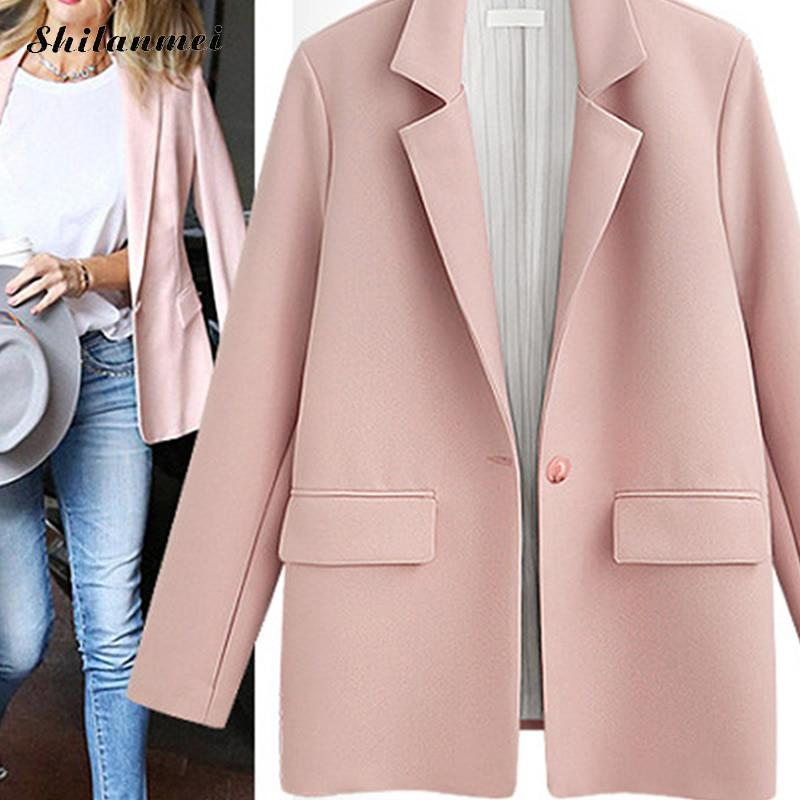 2019 Korean Female Blazer Black Pink Oversized Blazer Jacket Women Suit Collar Plus Size Coat Autumn Winter Think Fashion Jacket in Blazers from Women 39 s Clothing