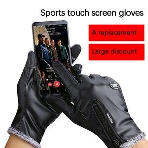 Image 3 - Зимние мужские и женские перчатки для велоспорта, кожаные перчатки с полным пальцем, водонепроницаемые, ветрозащитные, противоскользящие, сенсорный экран, лыжные, спортивные перчатки для спорта на открытом воздухе