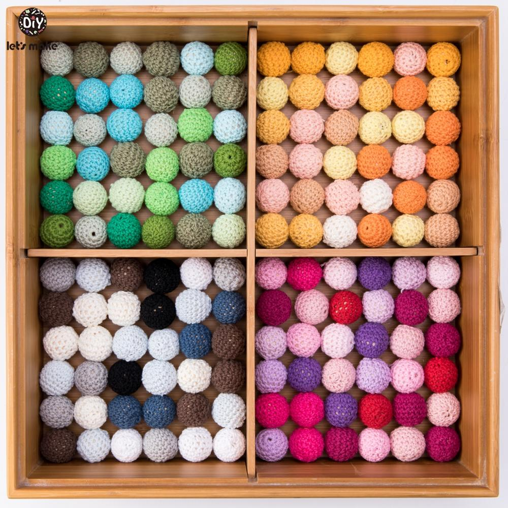 Let's Make 20pc Wooden Teether 16mm Crochet Beads Wooden Crafts DIY Beads For Pacifier Chain Baby Rattle Bead Kids Baby Teether