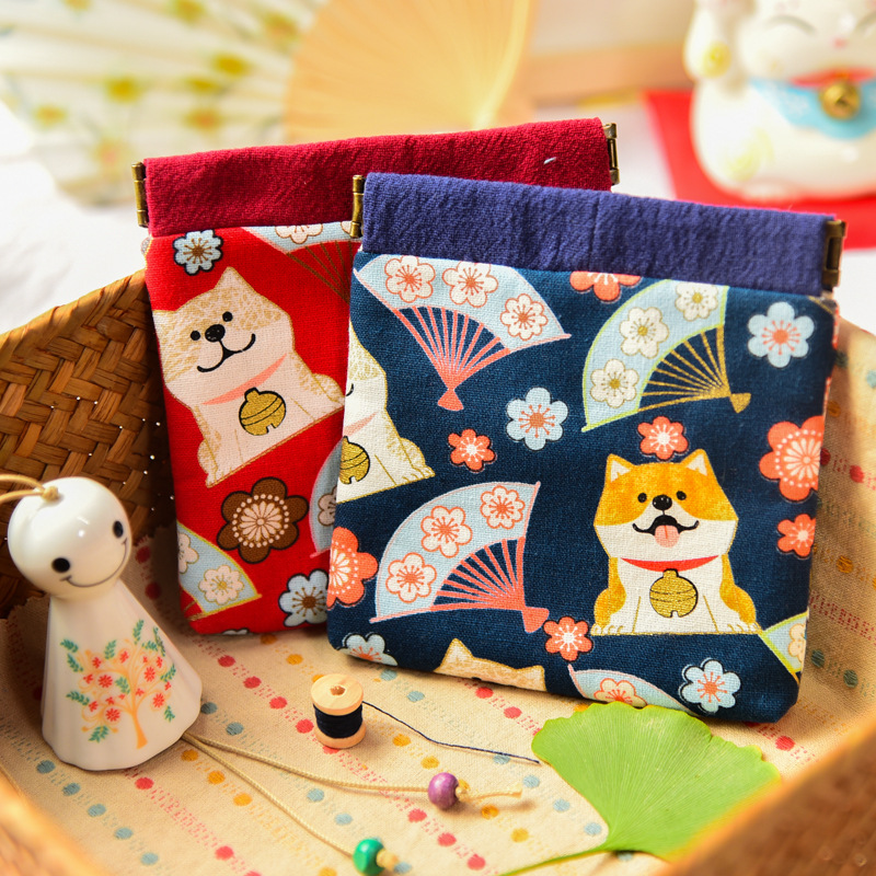 Japanese-style Wallet Handmade Cotton Linen And Wind Fabric Shrapnel Mouth Gold Package Retro Small Japanese Style Zero-Sum-Styl