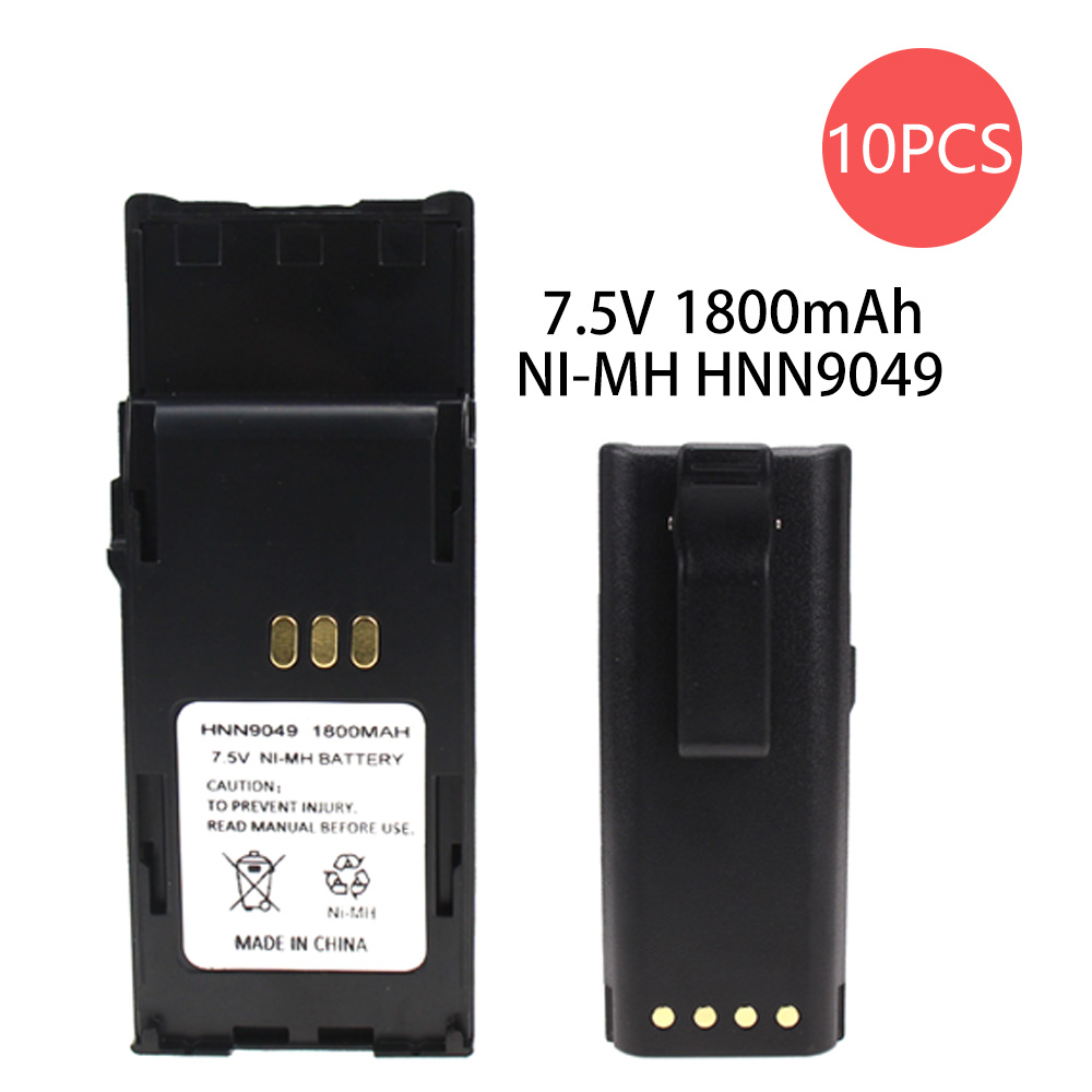 10X Battery Replacement (1800mAh, 7.5V, NI-MH) - For Motorola P1225 HNN9049 HNN9050 HNN9050A HNN9051 HNN9051A P1225 P1225 LS