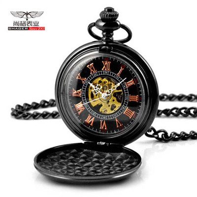 Fashion Pocket Fob Watches Full Double Hunter Mechanical Pocket Watches Engraved Men Women Pocket Watch Chain