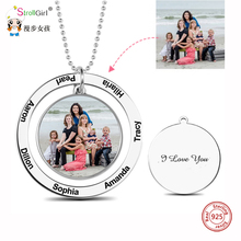 StrollGirl Personalized Custom Color Photo Engraved Necklace 925 Sterling Silver Circle Suspensions Memorial Necklaces Mom Gifts u7 100% 925 sterling silver heart shape engraved personalized custom photo pendant necklace mother s day gifts for lovers sc83