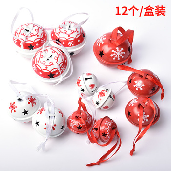 Christmas decorations scene layout gift ornaments pendant ornaments DIY bells ornaments 12 red and white painted