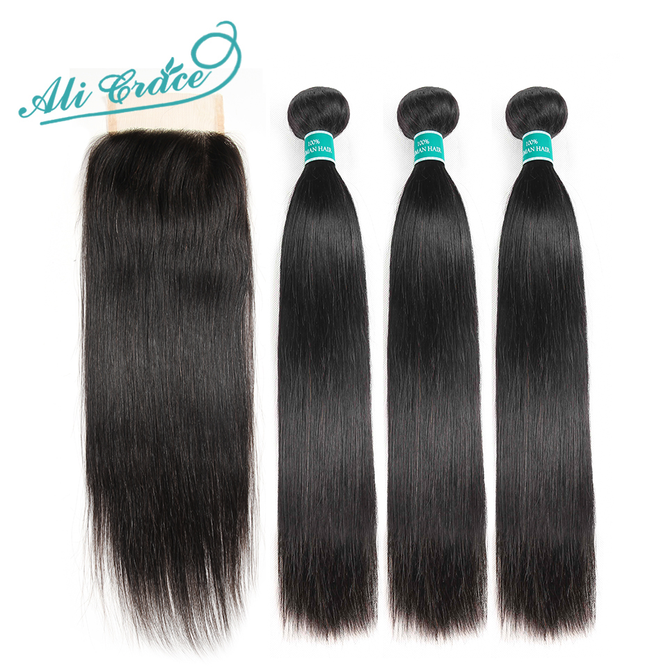 Ali Grace Hair Brazilian Straight Hair Bundles With Closure 4*4 Middle Free Part 2 Option 100% Remy Human Hair With Closure-in 3/4 Bundles with Closure from Hair Extensions & Wigs