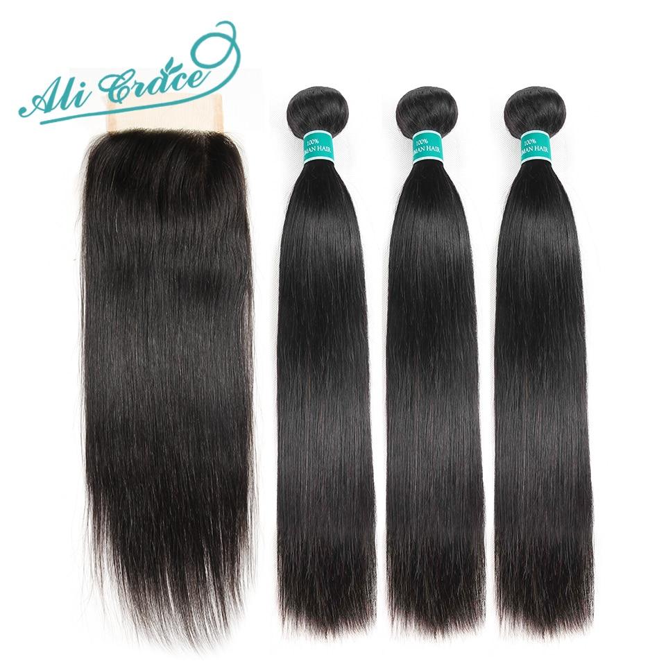 Ali Grace Hair Brazilian Straight Hair Bundles With Closure 4 4 Middle Free Part 2 Option Innrech Market.com