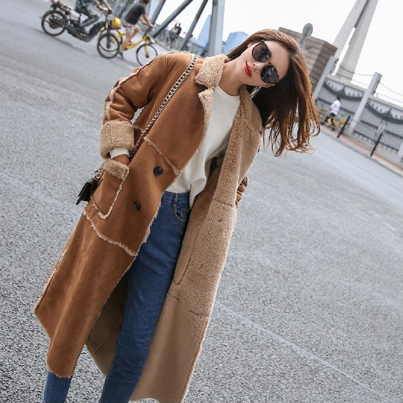 Savabien 2019 Autumn Vintage Suede Coat Faux Sheepskin Fur Inside Long Jacket Winter Women Elegant Trench Coat Female Streetwear