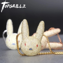TOPGRILLZ Miami Bad Bunny จี้สร้อยคอ Iced OUT AAA Cubic Zirconia Bling ผู้ชายผู้หญิง Hip hop ROCK เครื่องประดับ