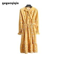 Guyueqiqin Womens  Floral Dress Long Sleeve Corduroy Retro Base Women Elegant