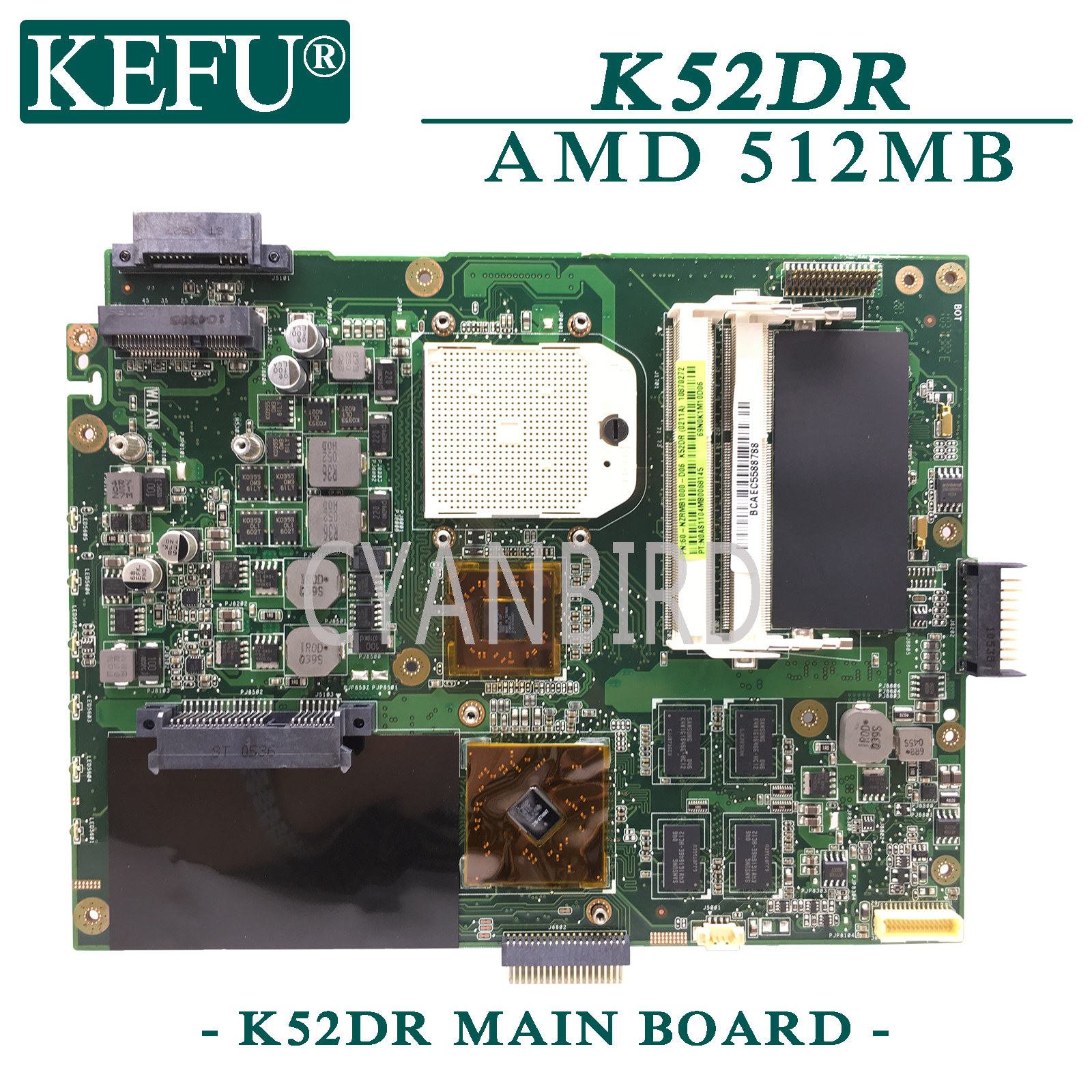 KEFU K52DR Original Mainboard For ASUS K52DR A52DE K52DE A52DR K52D With AMD 512MB Video Card Laptop Motherboard