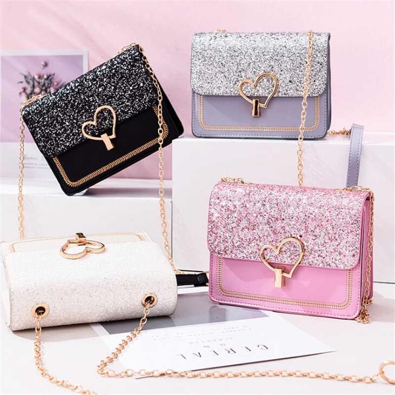 العصرية الترتر بولي Leather حقيبة جلدية الإناث مع معدن الحب شكل قفل الفتيات سلسلة رسول حقيبة كتف محفظة صغيرة رفرف جديد وصول